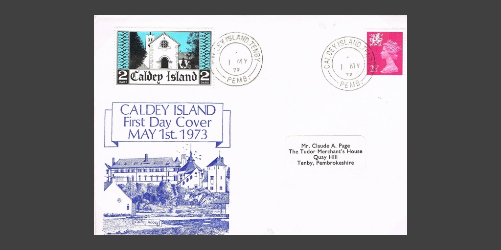 1973 first day cover featuring Caldey's inaugural stamp issue