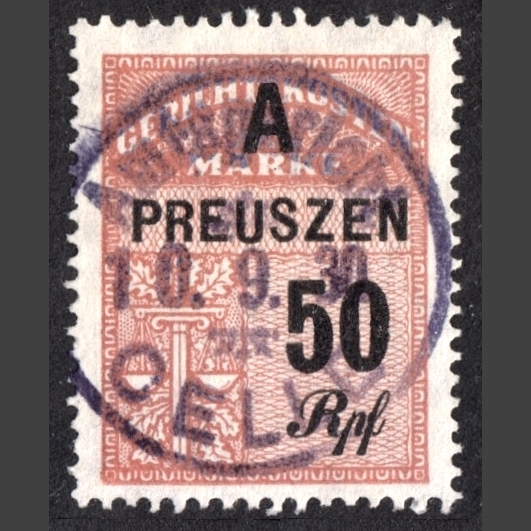 Prussia 1928 50 Rpf Court Revenue Stamp (Used)