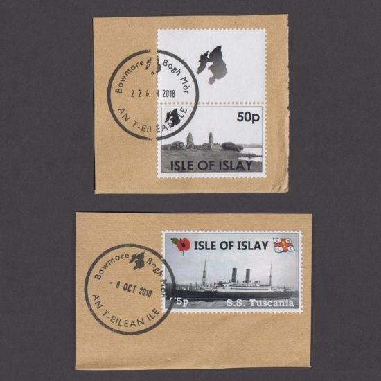 Islay 2018 Local Cinderella Stamps Used on Piece x2