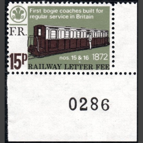 Ffestiniog Railway 1972 15p Centenary of the First Bogie Coaches Built for Regular Service in Great Britain (U/M)