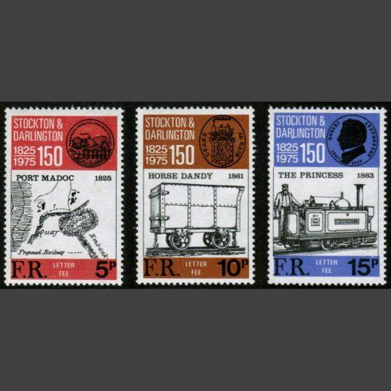 Ffestiniog Railway 1975 150th Anniversary of Stockton & Darlington Railway (3v, 5p to 15p, U/M)