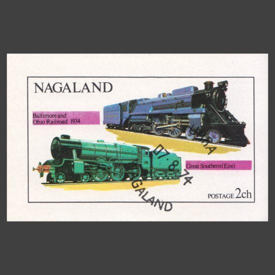 Nagaland 1974 Locomotives Sheetlet (2ch, CTO)