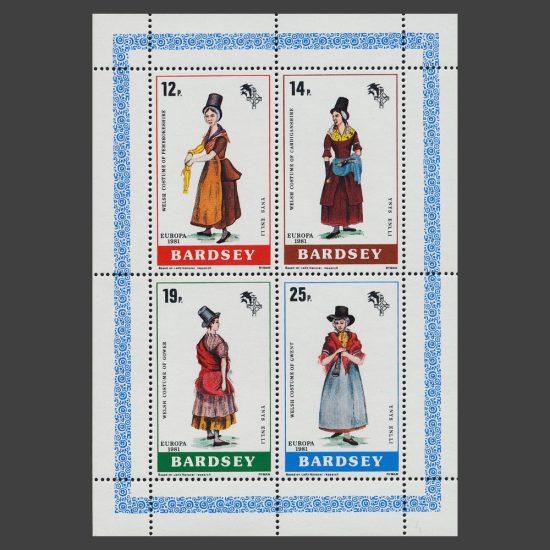 Bardsey 1981 Welsh Costumes (Europa) Set in Sheetlet (4v, 12p to 25p, U/M)