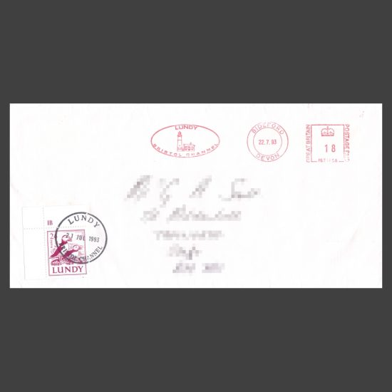 Lundy 1991 24p Definitive Postally Used on Cover (in 1993)