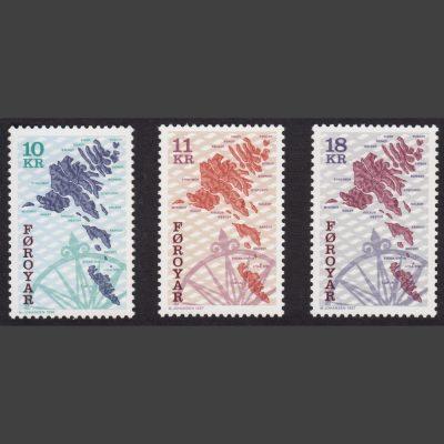 Faroe Islands 1996 Maps Part Set (SG 301-302 and 306, U/M)