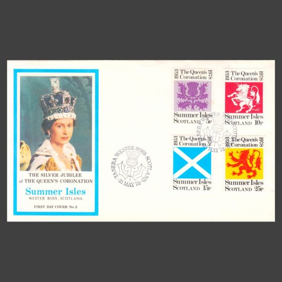 Summer Isles 1978 Silver Jubilee of Queen's Coronation FDC (4v, 5p to 25p)