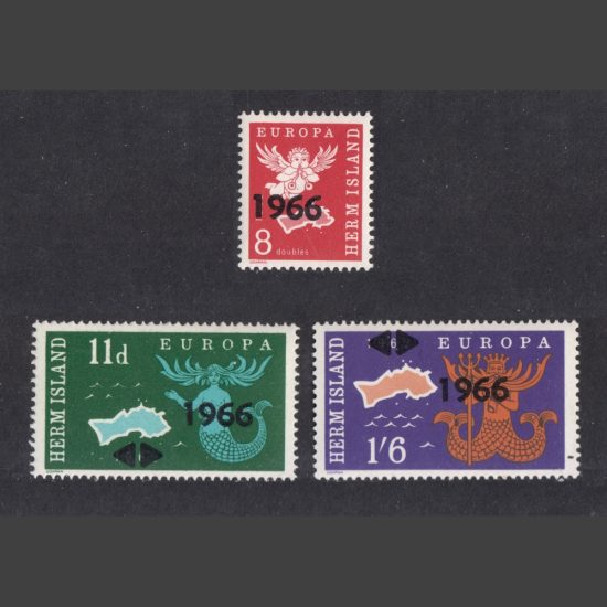 Herm Island 1966 Europa Overprints (3v, 8db to 1s6d, U/M)