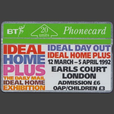 BT 1992 Ideal Home Exhibition 20 Unit Phonecard (Used)