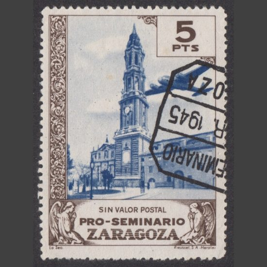 "Spain 1945 5 Pts ""Pro-Seminario Zaragoza"" Charity Label (Used)"