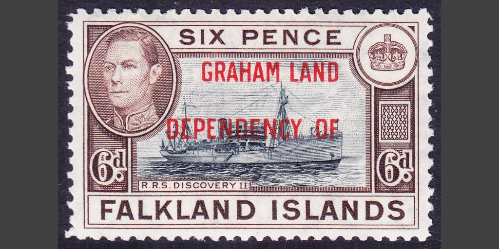 "One of the ""real"" Graham Land stamps produced in 1944"