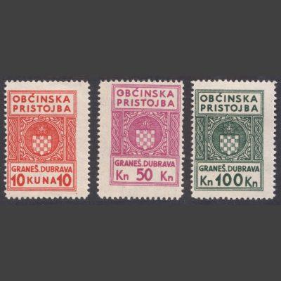 """Croatia 1944 """"Obćinska Pristojba"""" (Municipal Tax) Revenue Stamps x3 (LHM)"""