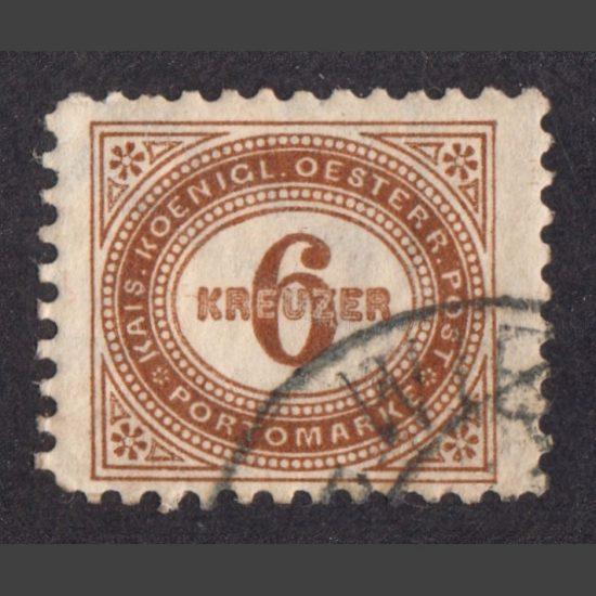 Austria 1894 6k Brown Postage Due Stamp (SG D100, Used)