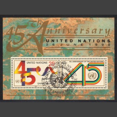 United Nations New York 1990 45th Anniversary of UN Miniature Sheet (SG MS588, CTO)