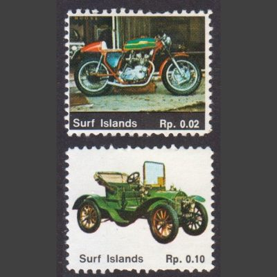 Surf Islands c1990s Fantasy Stamps x2 (U/M)