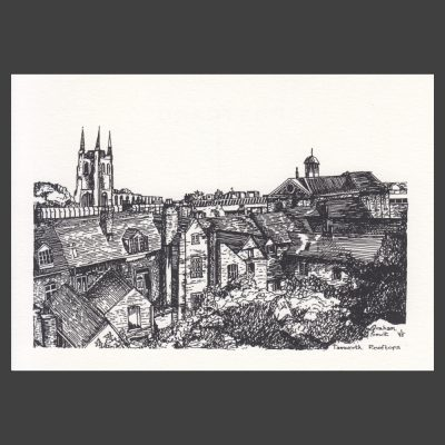Postcard - Tamworth Rooftops Drawing, 1997