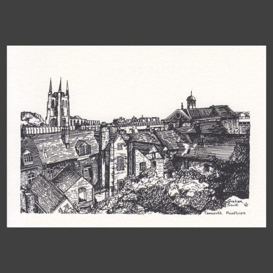 Postcard - Tamworth Rooftops Drawing, 1997