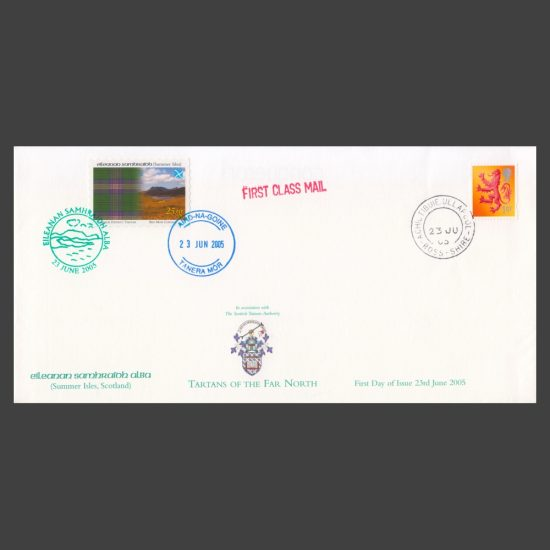 Summer Isles 2005 Tartans of the Far North FDC with 25sg and GB 1st Class Stamps