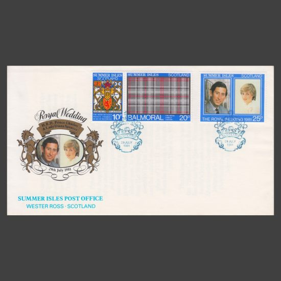 Summer Isles 1981 Royal Wedding Commemorative Cover feat 10p, 20p and 25p Stamps