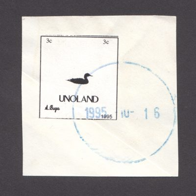 Unoland 1995 Fantasy Stamp from Lithuania Used on Piece