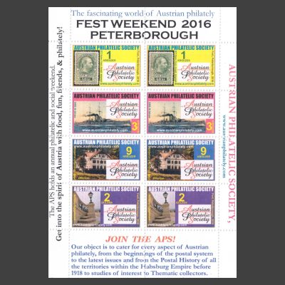 Austrian Philatelic Society 2016 Fest Weekend Sheetlet of Exhibition Labels (U/M)