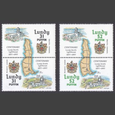 Lundy 1997 Centenary of Lundy Lighthouses (4v, 31p to 52p, U/M)