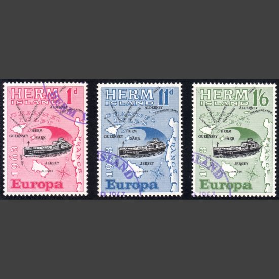 Herm Island1963 Europa (3v, 1d to 1s6d, CTO)