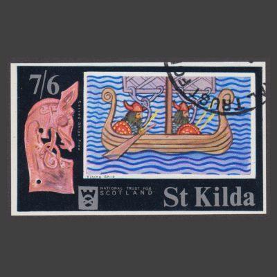 St Kilda 1971 Viking Ship (7s6d MS, CTO)