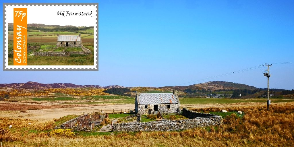 Old farmstead on Colonsay - on an island stamp, and in our own photograph