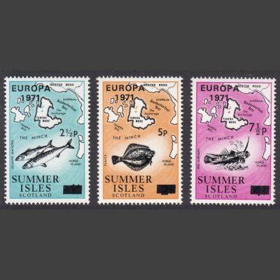 Summer Isles 1971 Europa Overprints (3v, 2½p to 7½p, U/M)