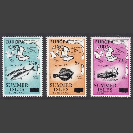 Summer Isles 1971 Europa Overprints (3v, 2½p to 7½p, U/M)