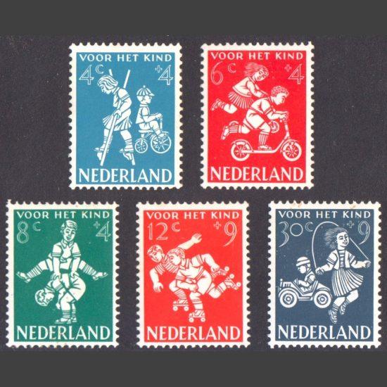 Netherlands 1958 Child Welfare Fund - Children's Games (SG 870-74, U/M)