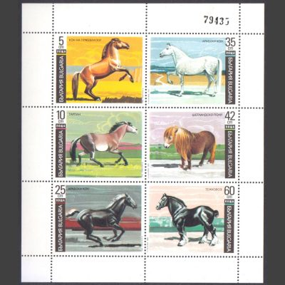 Bulgaria 1991 Horses Sheetlet (with Control No. 79435) (SG 3763-68, U/M)