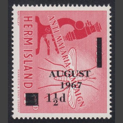 Herm Island 1967 1½d Overprinted Provisional Issue (U/M)