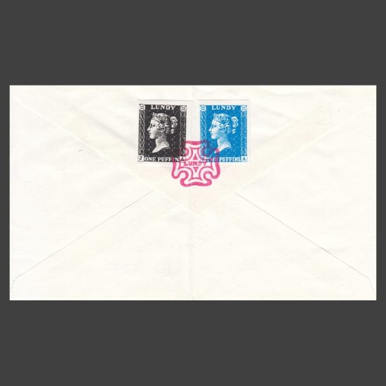 Lundy 1990s Penny Black and Twopenny Blue Bogus Issue on Cover - reverse of cover