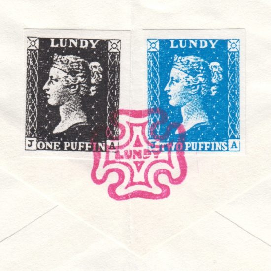 Lundy 1990s Penny Black and Twopenny Blue Bogus Issue on Cover - detail