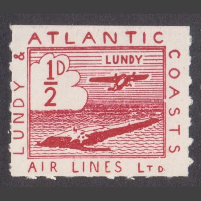 Lundy 1939 Lundy & Atlantic Coasts Air Lines ½d Red (U/M)