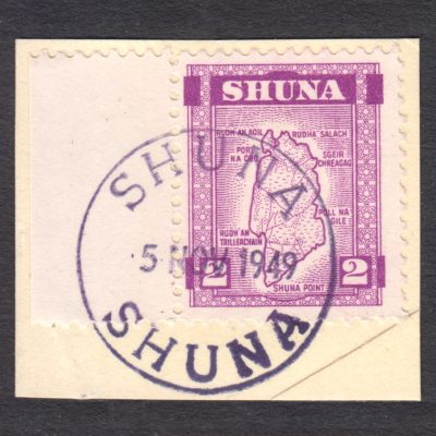 Shuna 1949 2d Map Definitive Used on Piece, Clean Cancellation
