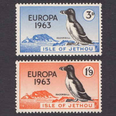 Isle of Jethou 1963 Europa Set - Island and Razorbill (2v, 3d and 1s9d, U/M)
