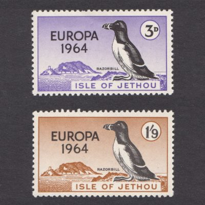 Isle of Jethou 1964 Europa Set - Island and Razorbill (2v, 3d and 1s9d, U/M)