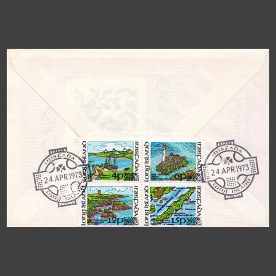 Long Island (Ireland) 1973 Local Carriage Issue on FDC (4v, 4p to 15p) - reverse of cover