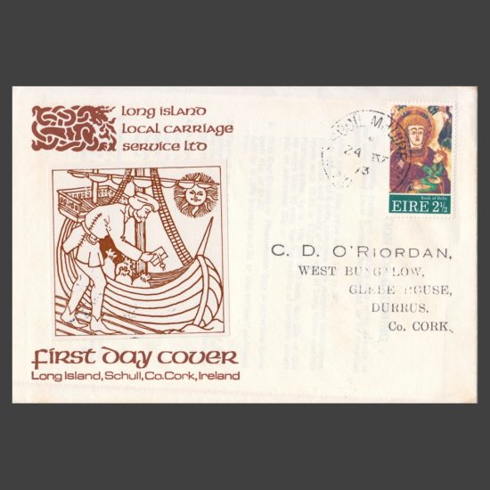 Long Island (Ireland) 1973 Local Carriage Issue on FDC (4v, 4p to 15p) - front of cover