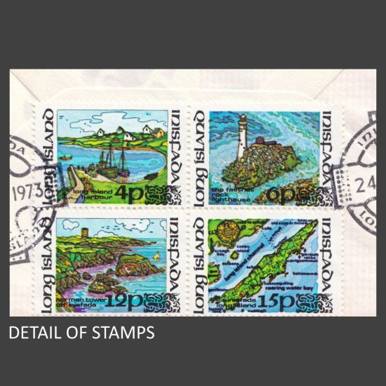 Long Island (Ireland) 1973 Local Carriage Issue on FDC (4v, 4p to 15p) - detail of stamps
