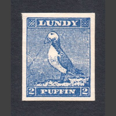 Lundy 1942 2p Puffin Cut-Out from 'Tighearna' Miniature Sheet (U/M, No Gum)