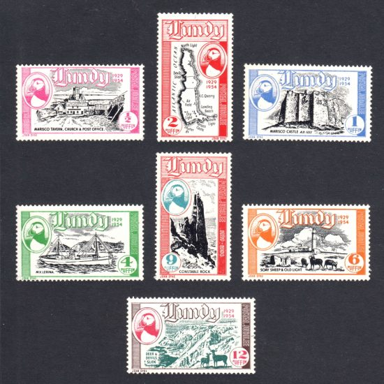 Lundy 1954 Silver Jubilee - 25 Years of Lundy Post - Seamail Issue (7v, ½p to 12p, U/M)