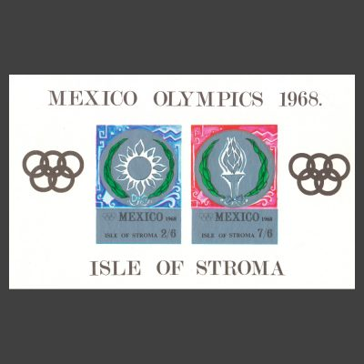 Stroma 1968 Mexico Olympics Imperforate Sheetlet (2v, 2s6d and 7s6d, U/M)