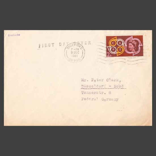 Lundy 1961 Europa First Day Cover (FDC) - Perforate Set on Plain Cover (front)