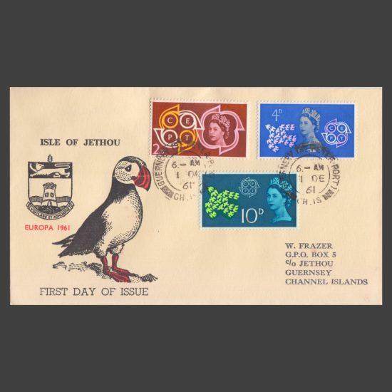 Great Britain 1961 Europa Set on 'Isle of Jethou' FDC (No Jethou Stamps)