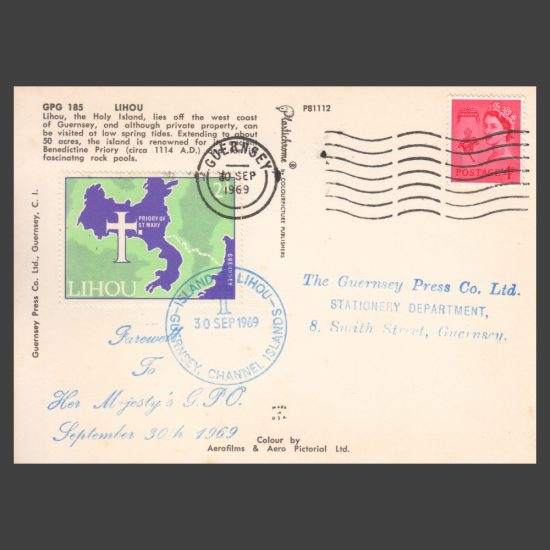 """Lihou 1969 """"Farewell to her Majesty's GPO"""" Postcard with 2d Youth Project Stamp"""