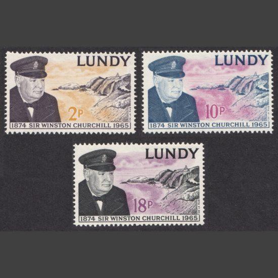 Lundy 1965 Sir Winston Churchill (3v, 2p to 18p, U/M)