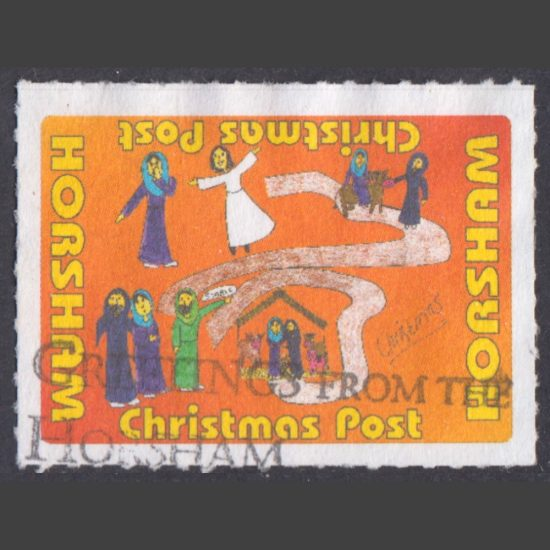 Horsham Christmas Post Label (Used)
